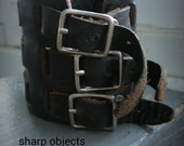 Nocturn- mens triple stainless steel buckle, vintage dark brown leather, adjustable woven cuff