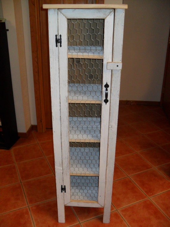 White Chicken Wire Door Cabinet