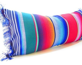 Blue Long bolster pillow cover Tribal Aztec Mexican Throw Boho chic Lumbar Cushion Purple red black green white