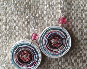 """n. 29 PINK & BROWNS round COILES recycled paper pierced earrings with glass beads measure 1.25"""""""