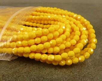 Opaque Dark Yellow Czech Glass Firepolish Beads 4mm Faceted Glass 50pc