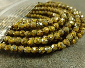 Sunflower Picasso Czech Glass Firepolish Beads 4mm Faceted Round 50pc