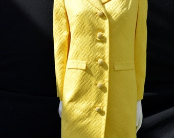 Vintage 60's MOD yellow I. MAGNING coat overcoat lady coat BROCADE basket weave pattern sM by thekaliman