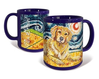 Golden Retriever Coffee Mug Van Growl Starry Night