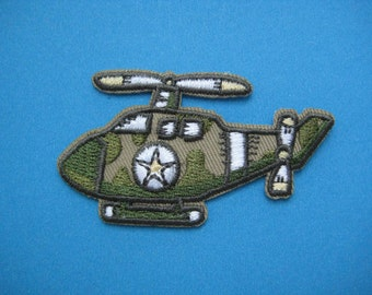 SALE~ 2 pcs Iron-on Embroidered Patch Helicopter 2.5 inch