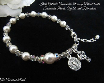 Traditional Catholic Irish First Communion Rosary Bracelet with Swarovski Pearls, Crystals and Rhinestones