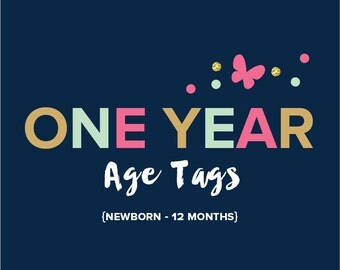 One Year Age Tags - Made to Match any theme from the shop