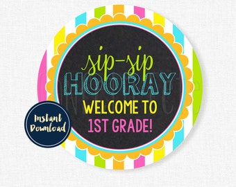 Sip Sip Hooray Tag, Back to School Tags, First Grade Tag, Student Gift Tag, Welcome Back Tag Printable INSTANT DOWNLOAD