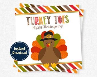 Turkey Toes Tag, Thanksgiving Treat Tag, Fall Tag, Turkey Tag, Thanksgiving Gift Tag Printable INSTANT DOWNLOAD