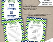 Bow Tie Price is Right Baby Shower Game with sign / instant download / boy baby shower games, navy green chevron boy