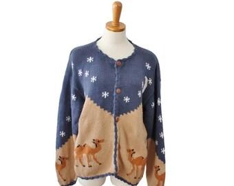 CIJ 40% off sale // Vintage 80s REY WEAR Camel Sweater // novelty cardigan // Women M L // tan blue cotton