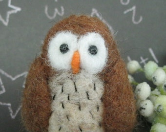 Owl needle felted sculpture small toy collectible art woodland decor
