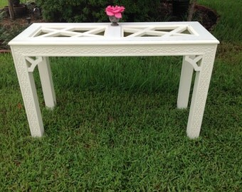 "CHINOISERIE FRETWORK CONSOLE Table / 30 1/2"" tall Hollywood Regency Fretwork Console / Chinoiserie Style at Retro Daisy Girl"