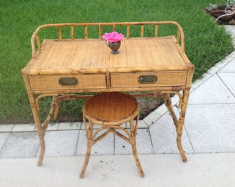 RATTAN WRITING DESK / Palm Beach Rattan Writing Desk with matching Stool / Vintage Palm Beach Hollywood Regency style at Retro Daisy Girl