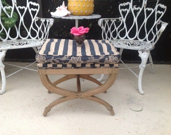 DRAPER STYLE X BENCh Hollywood Regency Style X Bench with Tufted Seat Cushion Palm Beach Chic Style On Sale at Retro Daisy Girl