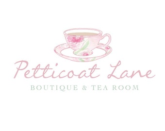 Logo design, Teacup Logo, Floral Logo, Shabby Chic Logo, Cafe Logo, Florist Logo, Wedding Logo, Business Logo, Photography Logo