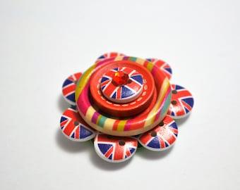 Union Jack button, flower brooch or pendant