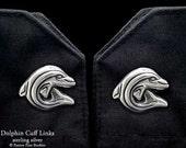 Dolphin Cuff Links Sterling Silver Ocean Cuff Links