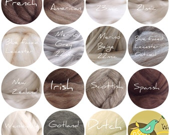SHEEP ROVING NATURAL 18 different colours/breeds tester bag