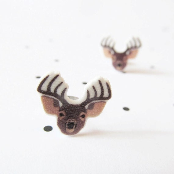 brown, deer, moose, animal, head, earring, stud, shrink plastic,  stainless stud, nickel free, light, handmade, les perles rares