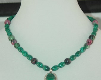 Malachite and Rubalite Necklace