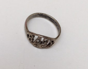 Antique Sterling Silver Baby Ring 1920s
