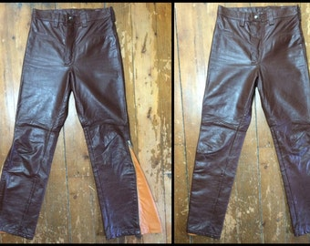 vtg Leather Motorcycle BMX Biker Jeans 29X31 zipper legs 2 tone Brown Yellow Worldwide Sportswear Montreal, crafted in Canada