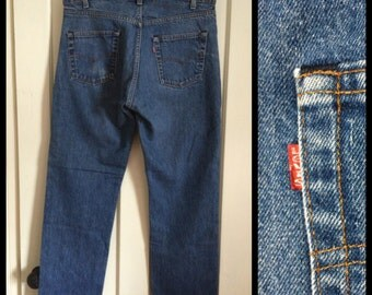 Vintage faded Levi's 505 36X30 Straight Leg 1980's made in USA 36 inch Waist black stitch Boyfriend blue jeans #1250