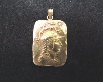 Classic 14k gold Grecian Warrior head pendant with diamond