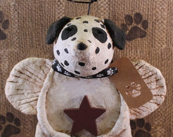 Dalmatian Angel, , OOAK, hand-sculpted from papier mache, Dalmatian Angel Figurine
