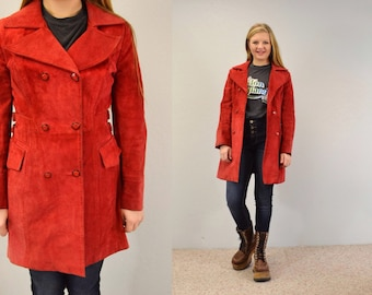 Suede jacket red double breasted 60s hipster lightweight 90s grunge indie Small IngridIceland mod