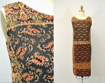 Lila Bath dress BEADED couture mexico rare vintage 1960s summer resort casual IngridIceland two piece dress outfit small xs s