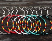 5 pair Native American style Turquoise Beaded Hoop Earrings