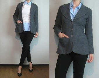 70s FITTED WOOL Blazer Vintage Gray Single Breasted Large Notched Collar Lapels Tiny Fit Jacket w/ 3 Pockets xxs xs/s Small 1970s