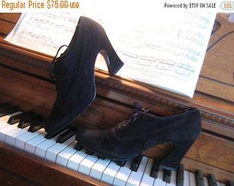 SUMMER SALE 80s SUEDE Platform Lace Up Vintage Genuine Leather Black Corset Shoes Heels Ankle Booties 8 7.5 1980s