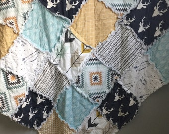 Baby Quilt- Deer Antlers- Baby Rag Quilt- Crib Quilt- Baby Quilt- Crib Bedding- Forest Theme- Woodland Theme- Fawn Fabric- Minky Blanket