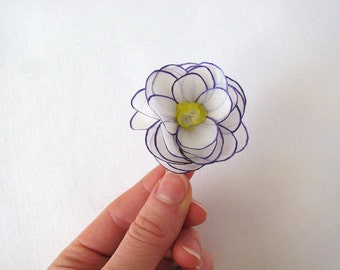 White rose silk flower hair snap pin with violet and yellow - hand painted silk rose hair snap clip