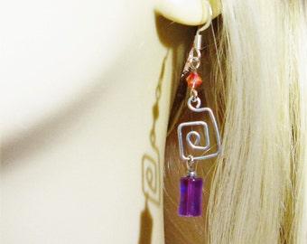 Long Earrings ~ Long Silver Earrings ~ Long Purple Earrings ~ Purple and Peach Earrings ~ Clip on Earrings