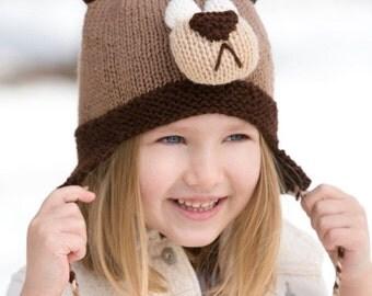 Knitting Pattern Cozy Bear Hat Instant Download PDF Pattern Easy Pattern Knit Animal Hat Knit Bear Hat
