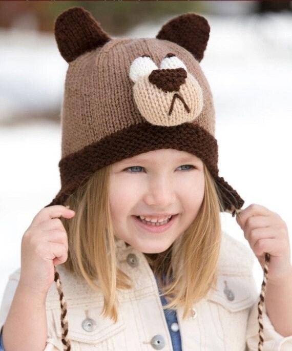 Bear Hat Knitting Pattern : Knitting Pattern Cozy Bear Hat Instant Download PDF Pattern