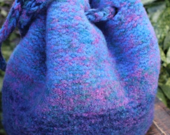 Vintage Hand Knit Felted Wool Bucket Bag Ombre Purple & Blue