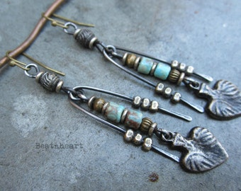 Que Sera... artisan earrings dangle primitive tribal boho jewelry rustic assemblage sacred heart milagros turquoise picassso czech beads
