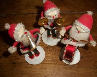 Vintage--Santa 3 Man or Gal Band Playing Instruments