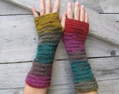 SALE 10% Granny's Hand Knit Fingerless Gloves in moss green, mustard yellow, strawberry red and brown