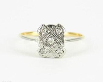 Art Deco Diamond Engagement Ring, Five Stone Rectangular Shape Panel Ring with Milgrain Beading Detail. Circa 1920s, 18ct & Platinum.