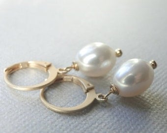 AAA Freshwater Pearl Earrings, Creamy White Classic Pearl Earrings, Jewelry, Valentines Day Gift, Mothers Day Gift, Pearl Dangle Earrings