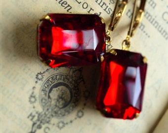 Hot Poppy, Estate Style, Vintage Red Emerald Cut Rhinestone Earrings by Hollywood Hillbilly