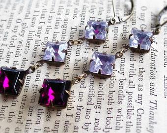 Bodacious African Violets,Shades of Purple,Estate Style Vintage Plum Rhinestone & Vintage Lavender Rhinestone Earrings , Hollywood Hillbilly