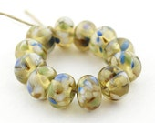 Sheribeads Glass Beads 12 Antiqued Daisy Blooms Spacers Lampwork