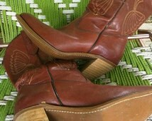 The tack room Vintage Western leather stacked heel cowgirl boots 1970's 80's Gypsy Rodeo Queen